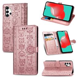 Embossing Dog Paw Kitten and Puppy Leather Wallet Case for Samsung Galaxy A32 5G - Rose Gold