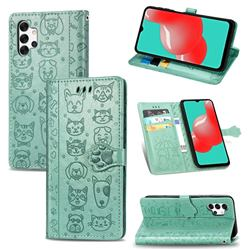 Embossing Dog Paw Kitten and Puppy Leather Wallet Case for Samsung Galaxy A32 5G - Green