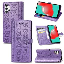 Embossing Dog Paw Kitten and Puppy Leather Wallet Case for Samsung Galaxy A32 5G - Purple