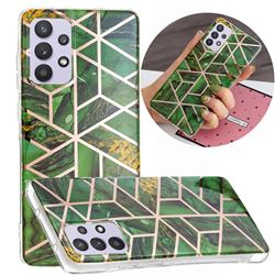 Green Rhombus Galvanized Rose Gold Marble Phone Back Cover for Samsung Galaxy A32 5G