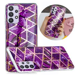 Purple Rhombus Galvanized Rose Gold Marble Phone Back Cover for Samsung Galaxy A32 5G