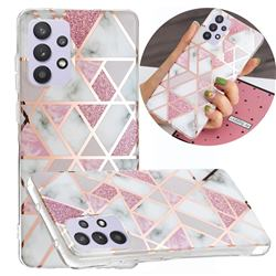 Pink Rhombus Galvanized Rose Gold Marble Phone Back Cover for Samsung Galaxy A32 5G