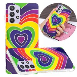 Rainbow Heart Painted Galvanized Electroplating Soft Phone Case Cover for Samsung Galaxy A32 5G