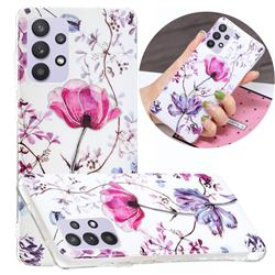 Magnolia Painted Galvanized Electroplating Soft Phone Case Cover for Samsung Galaxy A32 5G