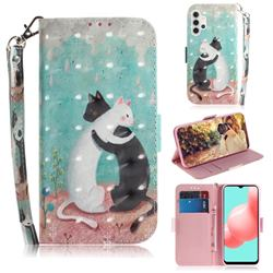 Black and White Cat 3D Painted Leather Wallet Phone Case for Samsung Galaxy A32 5G
