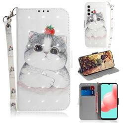 Cute Tomato Cat 3D Painted Leather Wallet Phone Case for Samsung Galaxy A32 5G