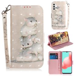 Three Squirrels 3D Painted Leather Wallet Phone Case for Samsung Galaxy A32 5G
