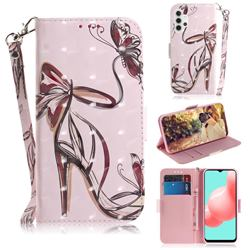 Butterfly High Heels 3D Painted Leather Wallet Phone Case for Samsung Galaxy A32 5G