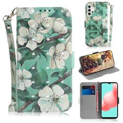 Watercolor Flower 3D Painted Leather Wallet Phone Case for Samsung Galaxy A32 5G