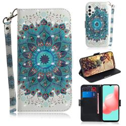 Peacock Mandala 3D Painted Leather Wallet Phone Case for Samsung Galaxy A32 5G