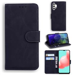 Retro Classic Skin Feel Leather Wallet Phone Case for Samsung Galaxy A32 5G - Black