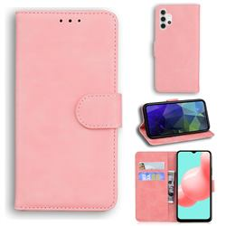 Retro Classic Skin Feel Leather Wallet Phone Case for Samsung Galaxy A32 5G - Pink