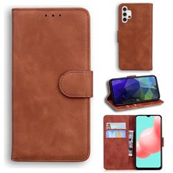Retro Classic Skin Feel Leather Wallet Phone Case for Samsung Galaxy A32 5G - Brown