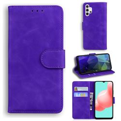 Retro Classic Skin Feel Leather Wallet Phone Case for Samsung Galaxy A32 5G - Purple