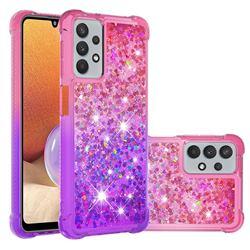 Rainbow Gradient Liquid Glitter Quicksand Sequins Phone Case for Samsung Galaxy A32 5G - Pink Purple