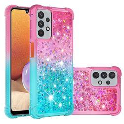 Rainbow Gradient Liquid Glitter Quicksand Sequins Phone Case for Samsung Galaxy A32 5G - Pink Blue
