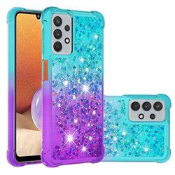 Rainbow Gradient Liquid Glitter Quicksand Sequins Phone Case for Samsung Galaxy A32 5G - Blue Purple