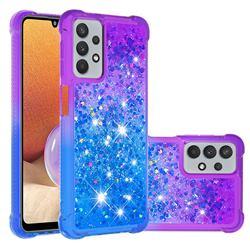 Rainbow Gradient Liquid Glitter Quicksand Sequins Phone Case for Samsung Galaxy A32 5G - Purple Blue