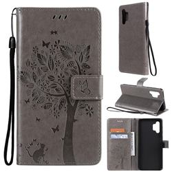 Embossing Butterfly Tree Leather Wallet Case for Samsung Galaxy A32 5G - Grey