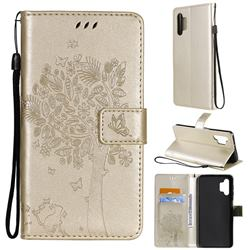 Embossing Butterfly Tree Leather Wallet Case for Samsung Galaxy A32 5G - Champagne