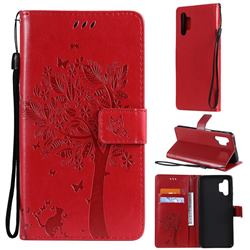Embossing Butterfly Tree Leather Wallet Case for Samsung Galaxy A32 5G - Red