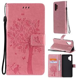 Embossing Butterfly Tree Leather Wallet Case for Samsung Galaxy A32 5G - Pink
