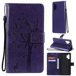 Embossing Butterfly Tree Leather Wallet Case for Samsung Galaxy A32 5G - Purple