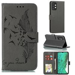 Intricate Embossing Lychee Feather Bird Leather Wallet Case for Samsung Galaxy A32 5G - Gray