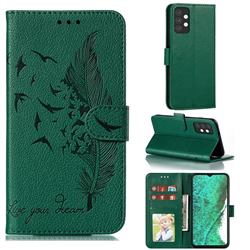 Intricate Embossing Lychee Feather Bird Leather Wallet Case for Samsung Galaxy A32 5G - Green