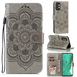 Intricate Embossing Datura Solar Leather Wallet Case for Samsung Galaxy A32 5G - Gray