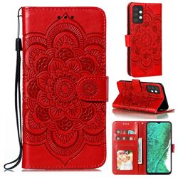 Intricate Embossing Datura Solar Leather Wallet Case for Samsung Galaxy A32 5G - Red