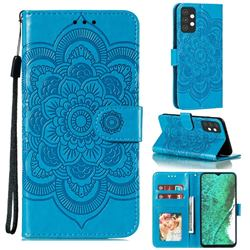 Intricate Embossing Datura Solar Leather Wallet Case for Samsung Galaxy A32 5G - Blue