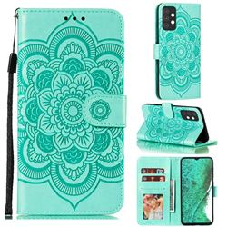Intricate Embossing Datura Solar Leather Wallet Case for Samsung Galaxy A32 5G - Green
