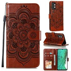 Intricate Embossing Datura Solar Leather Wallet Case for Samsung Galaxy A32 5G - Brown