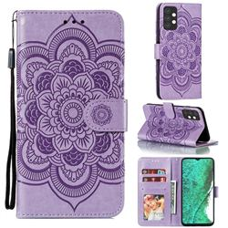 Intricate Embossing Datura Solar Leather Wallet Case for Samsung Galaxy A32 5G - Purple