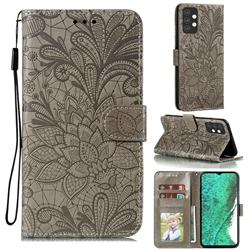 Intricate Embossing Lace Jasmine Flower Leather Wallet Case for Samsung Galaxy A32 5G - Gray