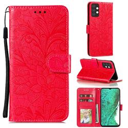 Intricate Embossing Lace Jasmine Flower Leather Wallet Case for Samsung Galaxy A32 5G - Red