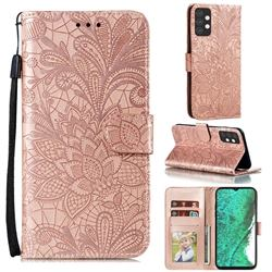 Intricate Embossing Lace Jasmine Flower Leather Wallet Case for Samsung Galaxy A32 5G - Rose Gold