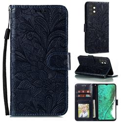 Intricate Embossing Lace Jasmine Flower Leather Wallet Case for Samsung Galaxy A32 5G - Dark Blue