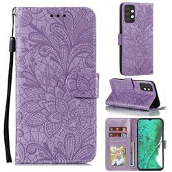 Intricate Embossing Lace Jasmine Flower Leather Wallet Case for Samsung Galaxy A32 5G - Purple