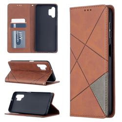 Prismatic Slim Magnetic Sucking Stitching Wallet Flip Cover for Samsung Galaxy A32 5G - Brown