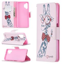 Glasses Giraffe Leather Wallet Case for Samsung Galaxy A32 5G
