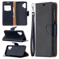 Classic Luxury Litchi Leather Phone Wallet Case for Samsung Galaxy A32 5G - Black