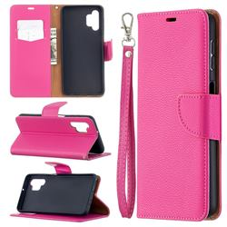 Classic Luxury Litchi Leather Phone Wallet Case for Samsung Galaxy A32 5G - Rose