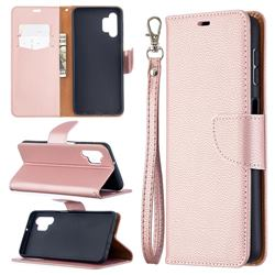 Classic Luxury Litchi Leather Phone Wallet Case for Samsung Galaxy A32 5G - Golden