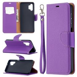 Classic Luxury Litchi Leather Phone Wallet Case for Samsung Galaxy A32 5G - Purple