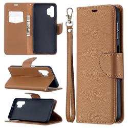 Classic Luxury Litchi Leather Phone Wallet Case for Samsung Galaxy A32 5G - Brown