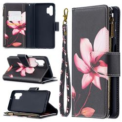 Lotus Flower Binfen Color BF03 Retro Zipper Leather Wallet Phone Case for Samsung Galaxy A32 5G