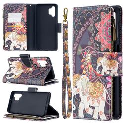 Totem Flower Elephant Binfen Color BF03 Retro Zipper Leather Wallet Phone Case for Samsung Galaxy A32 5G