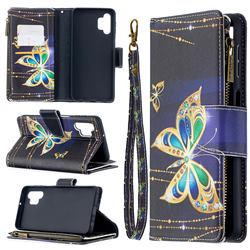 Golden Shining Butterfly Binfen Color BF03 Retro Zipper Leather Wallet Phone Case for Samsung Galaxy A32 5G